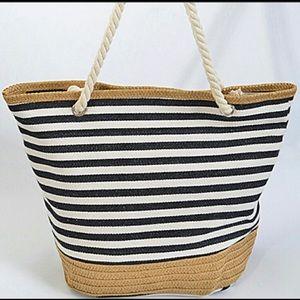 Handbags - 1 LEFT☀️Black Summer Stripe Tote Bag w Straw Trim